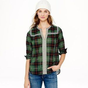J.CREW EMBROIDERED PEASANT TOP IN GREEN PLAID